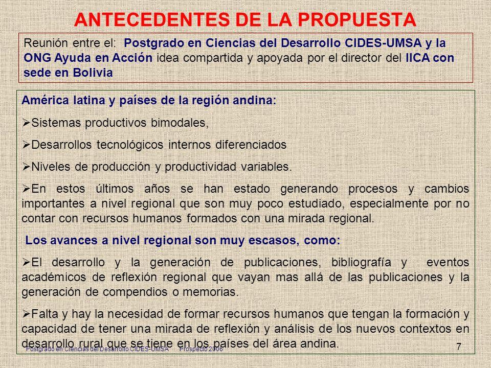 Postgrado en Ciencias del Desarrollo CIDES-UMSA Prospecto 2006 7 ANTECEDENTES DE LA PROPUESTA Reunión entre el: Postgrado en Ciencias del Desarrollo C