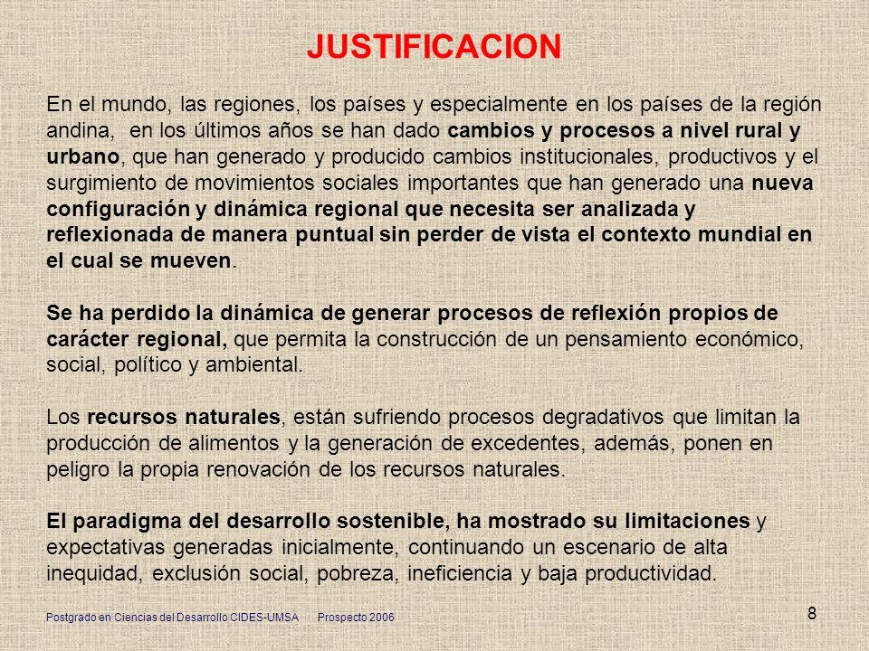 Postgrado en Ciencias del Desarrollo CIDES-UMSA Prospecto 2006 8 JUSTIFICACION En el mundo, las regiones, los países y especialmente en los países de
