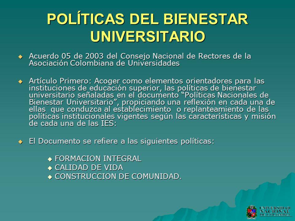 POLÍTICAS DEL BIENESTAR UNIVERSITARIO Acuerdo 05 de 2003 del Consejo Nacional de Rectores de la Asociación Colombiana de Universidades Acuerdo 05 de 2