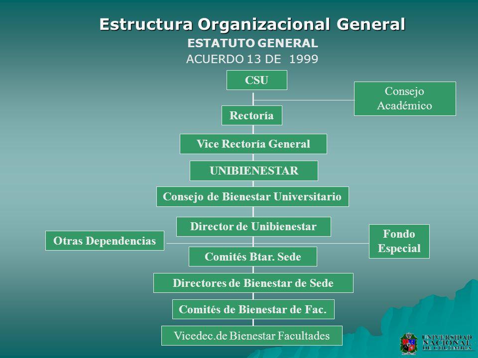 Estructura Organizacional General ESTATUTO GENERAL ACUERDO 13 DE 1999 Consejo Académico CSU Rectoría Vice Rectoría General Otras Dependencias Fondo Es