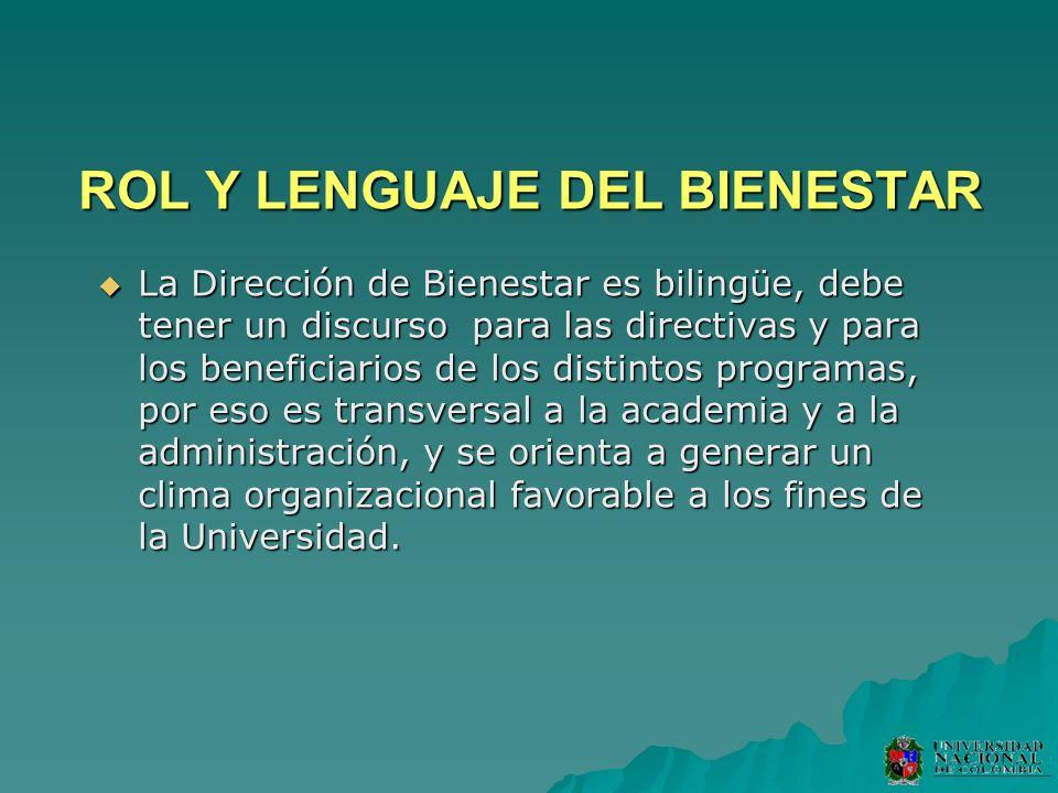 ROL Y LENGUAJE DEL BIENESTAR La Dirección de Bienestar es bilingüe, debe tener un discurso para las directivas y para los beneficiarios de los distint