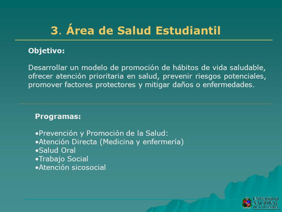 3. Área de Salud Estudiantil Objetivo: Desarrollar un modelo de promoción de hábitos de vida saludable, ofrecer atención prioritaria en salud, preveni