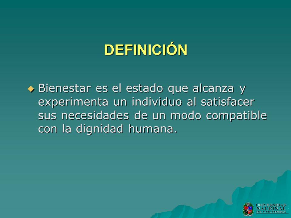 DEFINICIÓN Bienestar es el estado que alcanza y experimenta un individuo al satisfacer sus necesidades de un modo compatible con la dignidad humana. B