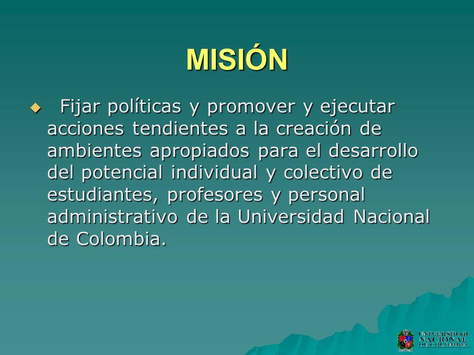 MISIÓN Fijar políticas y promover y ejecutar acciones tendientes a la creación de ambientes apropiados para el desarrollo del potencial individual y c