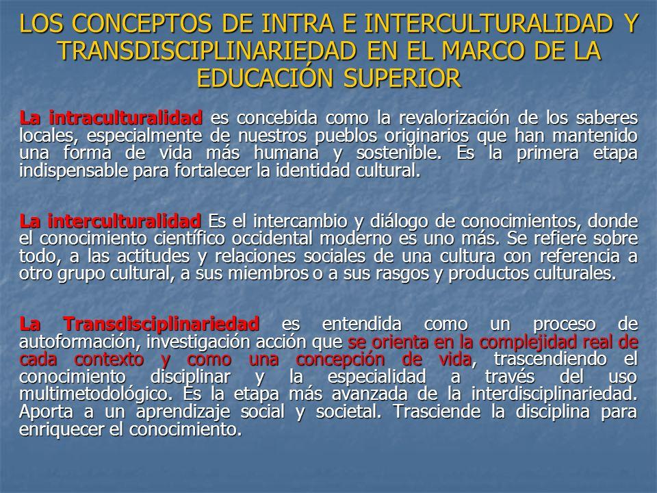 LOS CONCEPTOS DE INTRA E INTERCULTURALIDAD Y TRANSDISCIPLINARIEDAD EN EL MARCO DE LA EDUCACIÓN SUPERIOR La intraculturalidad es concebida como la reva