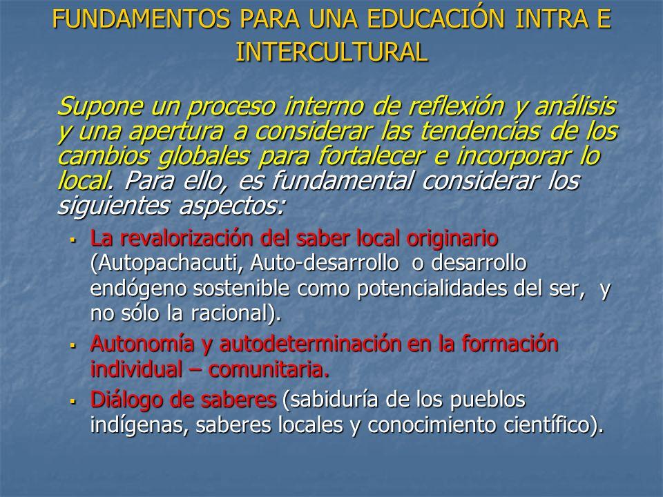 FUNDAMENTOS PARA UNA EDUCACIÓN INTRA E INTERCULTURAL Supone un proceso interno de reflexión y análisis y una apertura a considerar las tendencias de l
