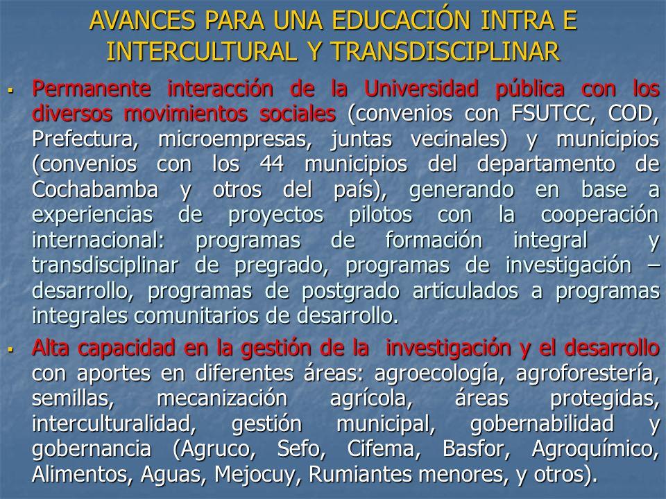 Permanente interacción de la Universidad pública con los diversos movimientos sociales (convenios con FSUTCC, COD, Prefectura, microempresas, juntas v