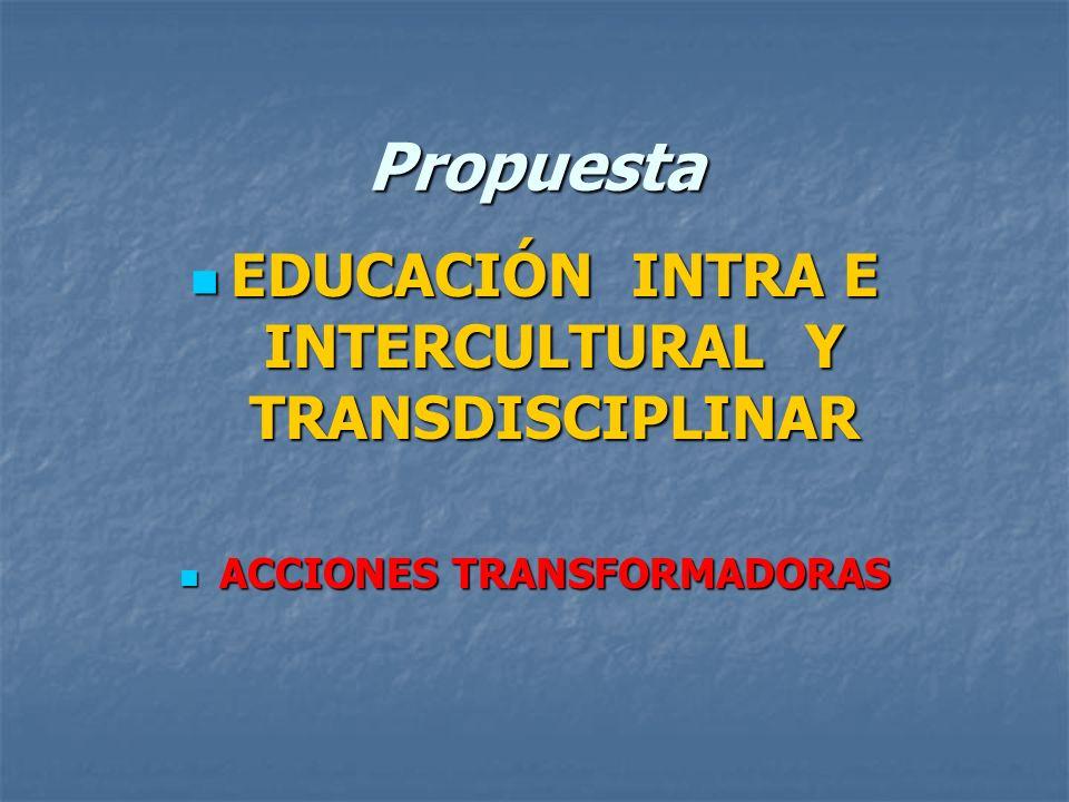 Propuesta EDUCACIÓN INTRA E INTERCULTURAL Y TRANSDISCIPLINAR EDUCACIÓN INTRA E INTERCULTURAL Y TRANSDISCIPLINAR ACCIONES TRANSFORMADORAS ACCIONES TRAN
