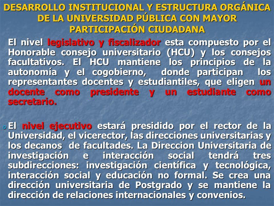 El nivel legislativo y fiscalizador esta compuesto por el Honorable consejo universitario (HCU) y los consejos facultativos. El HCU mantiene los princ
