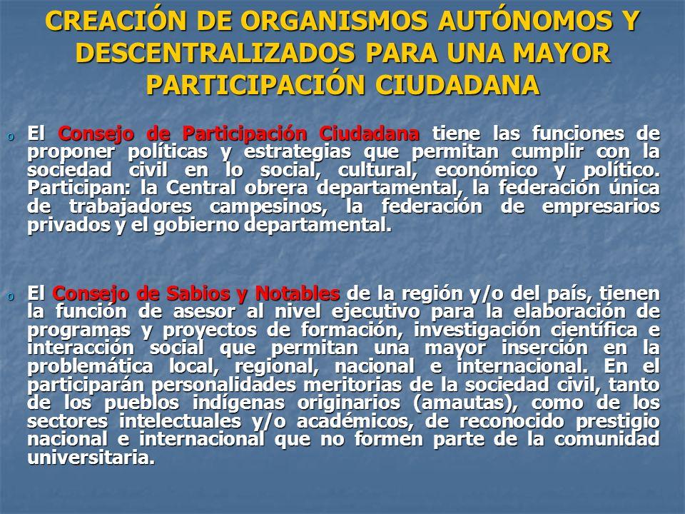o El Consejo de Participación Ciudadana tiene las funciones de proponer políticas y estrategias que permitan cumplir con la sociedad civil en lo socia