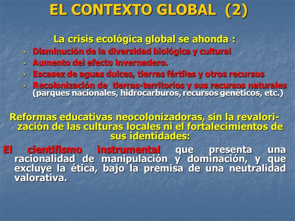 EL CONTEXTO GLOBAL (2) La crisis ecológica global se ahonda : Disminución de la diversidad biológica y cultural Disminución de la diversidad biológica