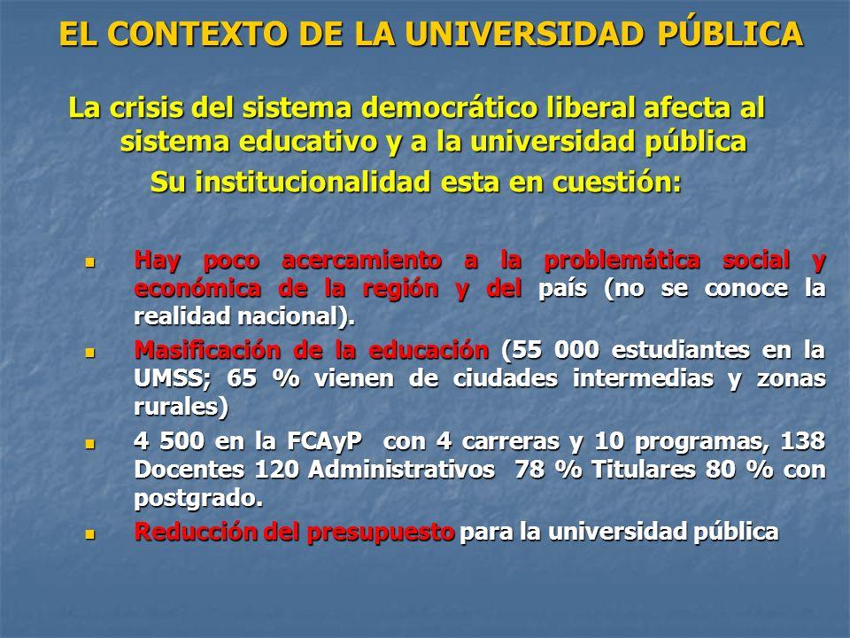 EL CONTEXTO DE LA UNIVERSIDAD PÚBLICA EL CONTEXTO DE LA UNIVERSIDAD PÚBLICA La crisis del sistema democrático liberal afecta al sistema educativo y a