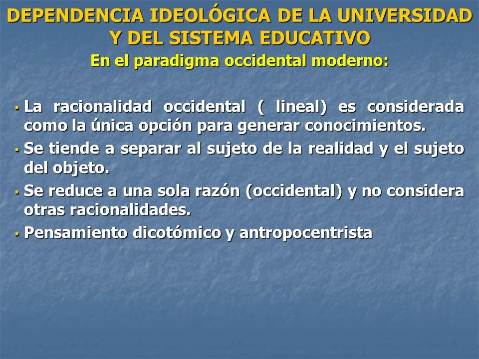 DEPENDENCIA IDEOLÓGICA DE LA UNIVERSIDAD Y DEL SISTEMA EDUCATIVO En el paradigma occidental moderno: La racionalidad occidental ( lineal) es considera
