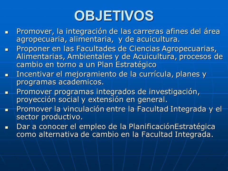 OBJETIVOS Promover, la integración de las carreras afines del área agropecuaria, alimentaria, y de acuicultura.