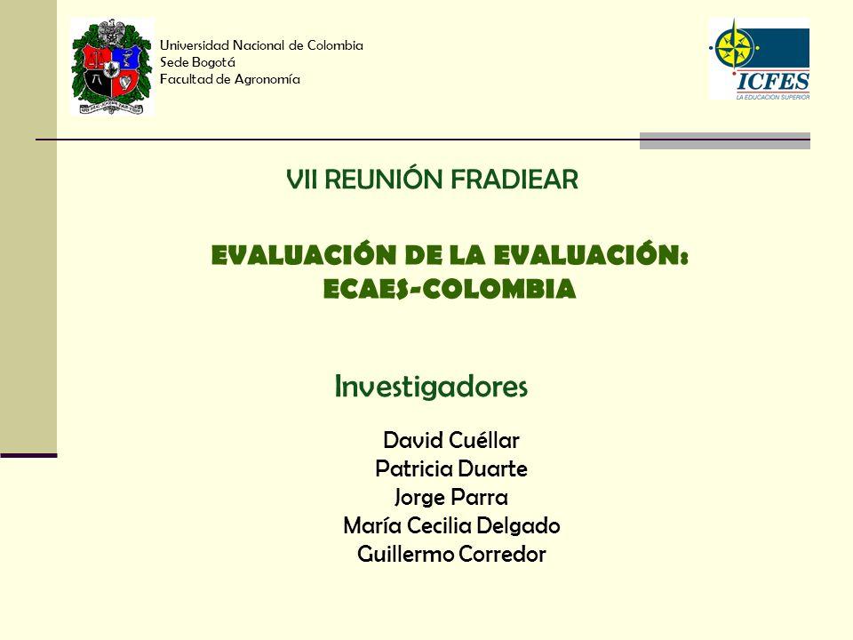 Universidad Nacional de Colombia Sede Bogotá Facultad de Agronomía David Cuéllar Patricia Duarte Jorge Parra María Cecilia Delgado Guillermo Corredor