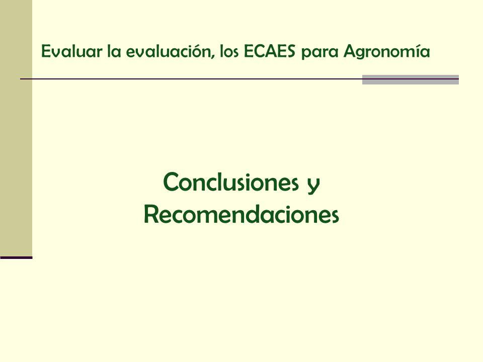 Conclusiones y Recomendaciones Evaluar la evaluación, los ECAES para Agronomía