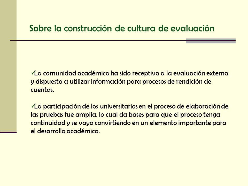 Sobre la construcción de cultura de evaluación La comunidad académica ha sido receptiva a la evaluación externa y dispuesta a utilizar información par