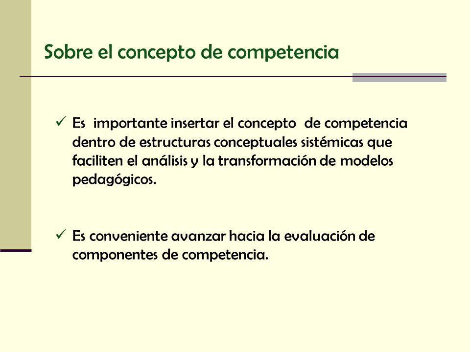 Sobre el concepto de competencia Es importante insertar el concepto de competencia dentro de estructuras conceptuales sistémicas que faciliten el anál