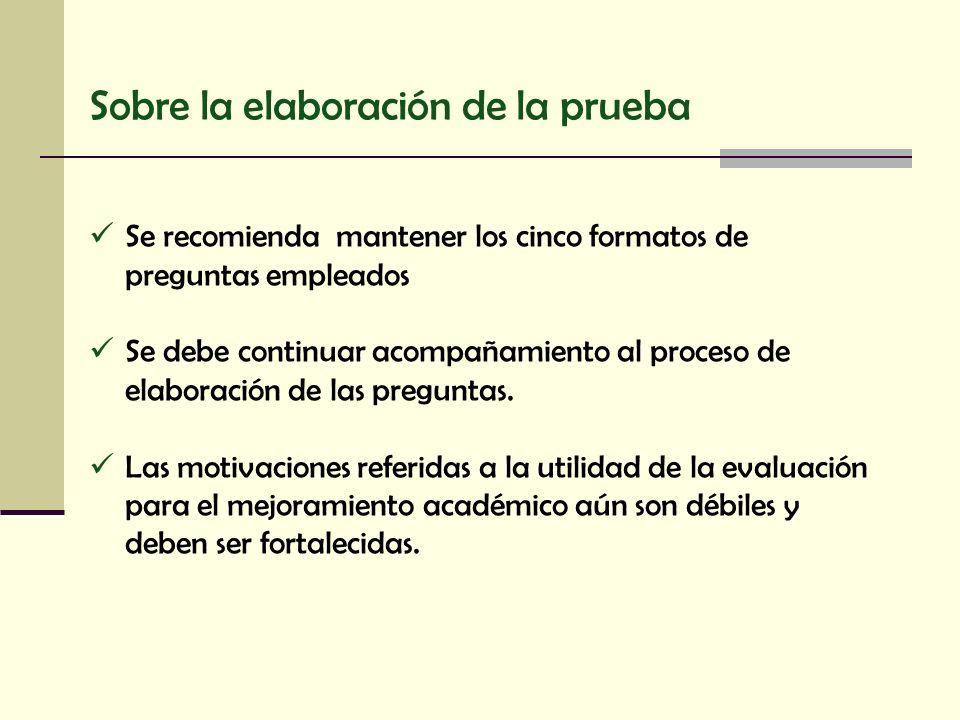 Sobre la elaboración de la prueba Se recomienda mantener los cinco formatos de preguntas empleados Se debe continuar acompañamiento al proceso de elab
