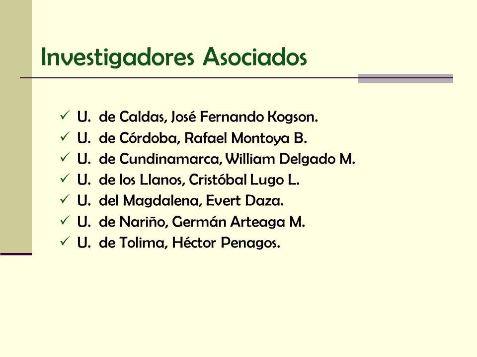 Investigadores Asociados U. de Caldas, José Fernando Kogson. U. de Córdoba, Rafael Montoya B. U. de Cundinamarca, William Delgado M. U. de los Llanos,