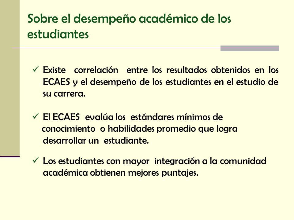 Sobre el desempeño académico de los estudiantes Existe correlación entre los resultados obtenidos en los ECAES y el desempeño de los estudiantes en el