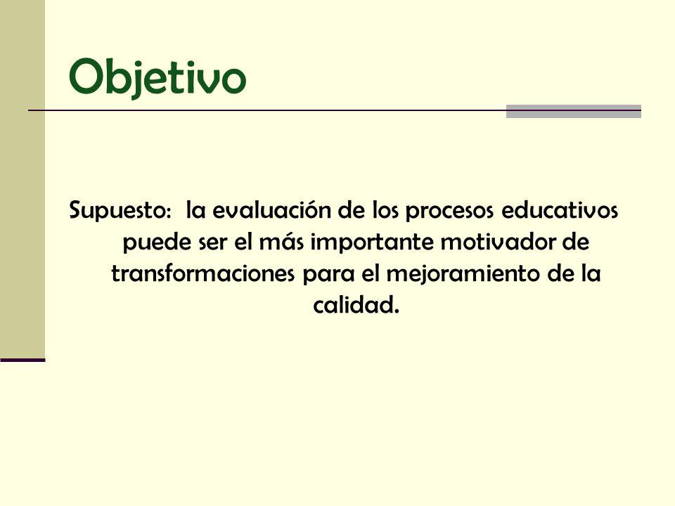 Supuesto: la evaluación de los procesos educativos puede ser el más importante motivador de transformaciones para el mejoramiento de la calidad. Objet