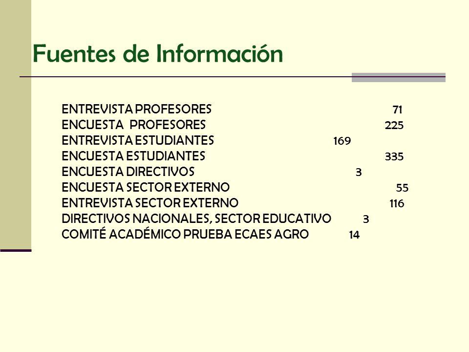 Fuentes de Información ENTREVISTA PROFESORES 71 ENCUESTA PROFESORES 225 ENTREVISTA ESTUDIANTES 169 ENCUESTA ESTUDIANTES 335 ENCUESTA DIRECTIVOS 3 ENCU