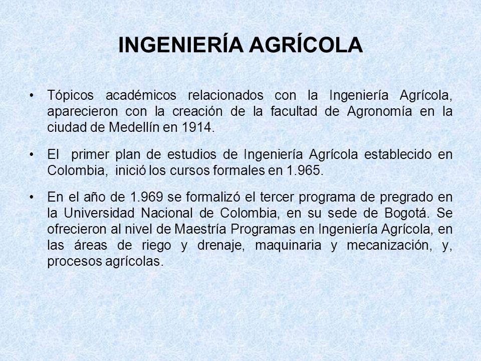 INGENIERÍA AGRÍCOLA Tópicos académicos relacionados con la Ingeniería Agrícola, aparecieron con la creación de la facultad de Agronomía en la ciudad d