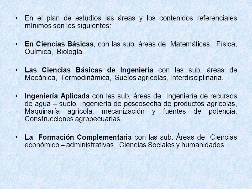En el plan de estudios las áreas y los contenidos referenciales mínimos son los siguientes: En Ciencias Básicas, con las sub. áreas de Matemáticas, Fí