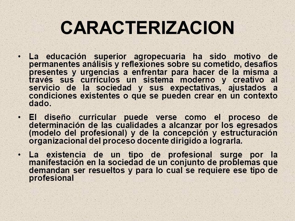 CARACTERIZACION La educación superior agropecuaria ha sido motivo de permanentes análisis y reflexiones sobre su cometido, desafíos presentes y urgenc