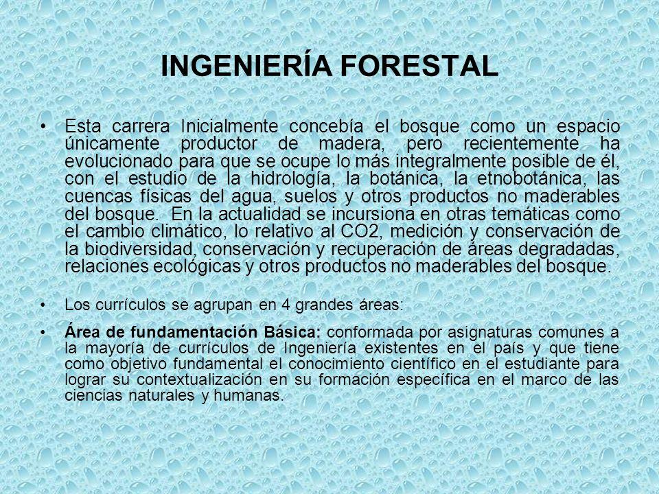 INGENIERÍA FORESTAL Esta carrera Inicialmente concebía el bosque como un espacio únicamente productor de madera, pero recientemente ha evolucionado pa