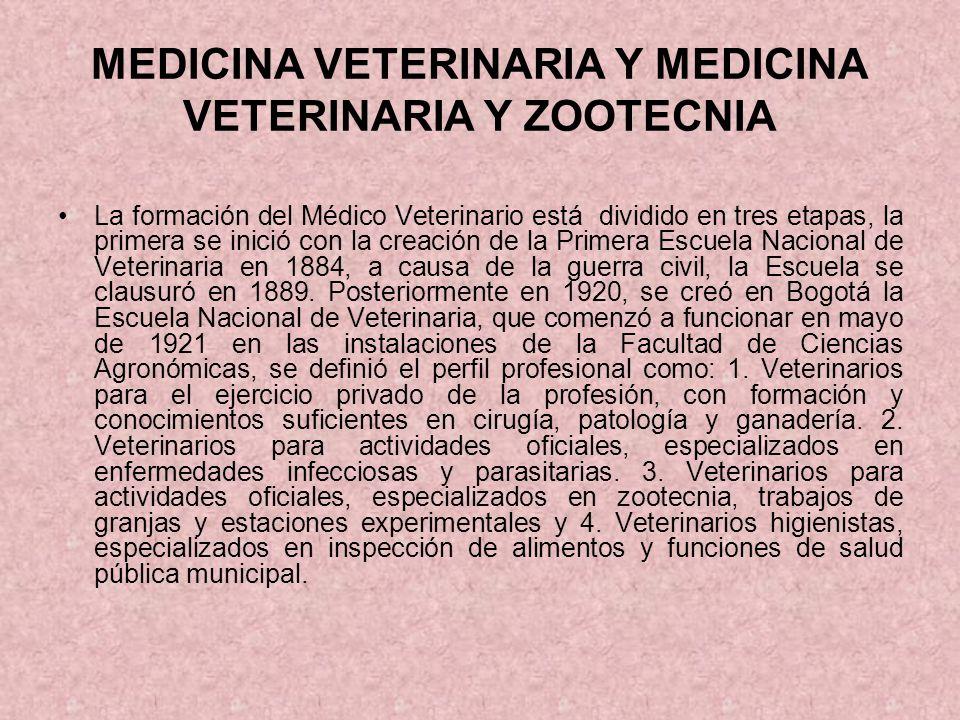 MEDICINA VETERINARIA Y MEDICINA VETERINARIA Y ZOOTECNIA La formación del Médico Veterinario está dividido en tres etapas, la primera se inició con la