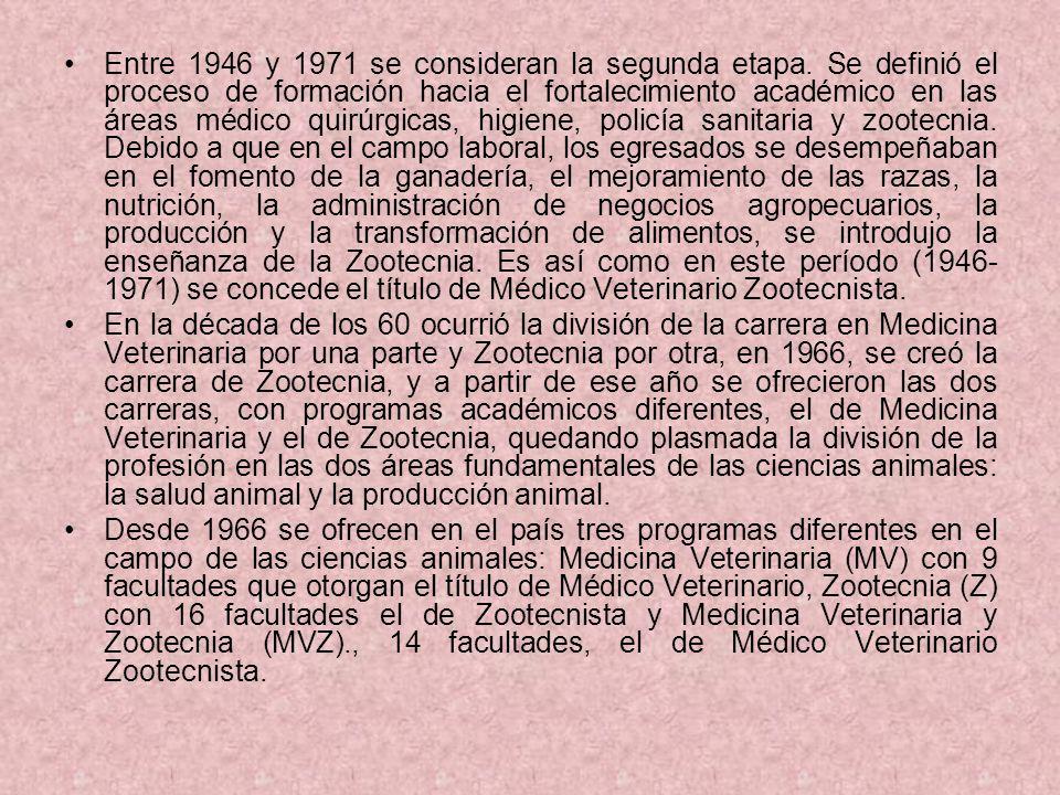 Entre 1946 y 1971 se consideran la segunda etapa. Se definió el proceso de formación hacia el fortalecimiento académico en las áreas médico quirúrgica