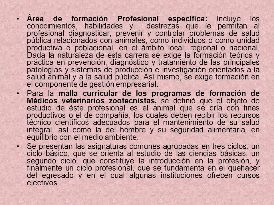 Área de formación Profesional específica: Incluye los conocimientos, habilidades y destrezas que le permitan al profesional diagnosticar, prevenir y c