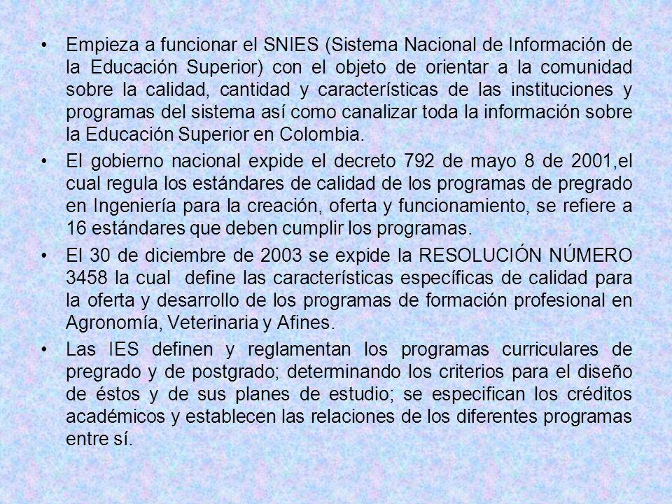 Empieza a funcionar el SNIES (Sistema Nacional de Información de la Educación Superior) con el objeto de orientar a la comunidad sobre la calidad, can