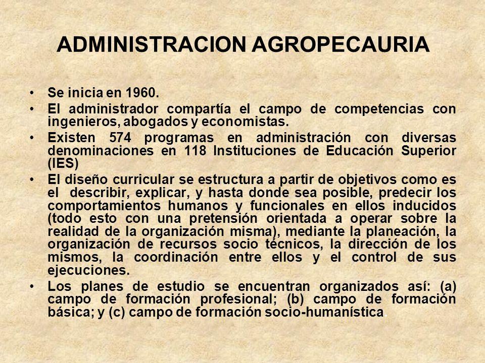 ADMINISTRACION AGROPECAURIA Se inicia en 1960. El administrador compartía el campo de competencias con ingenieros, abogados y economistas. Existen 574
