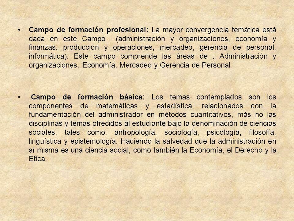 Campo de formación socio-humanística: Presenta las disciplinas de derecho (constitucional, comercial, laboral y tributario), particularmente en el tema de derecho comercial.