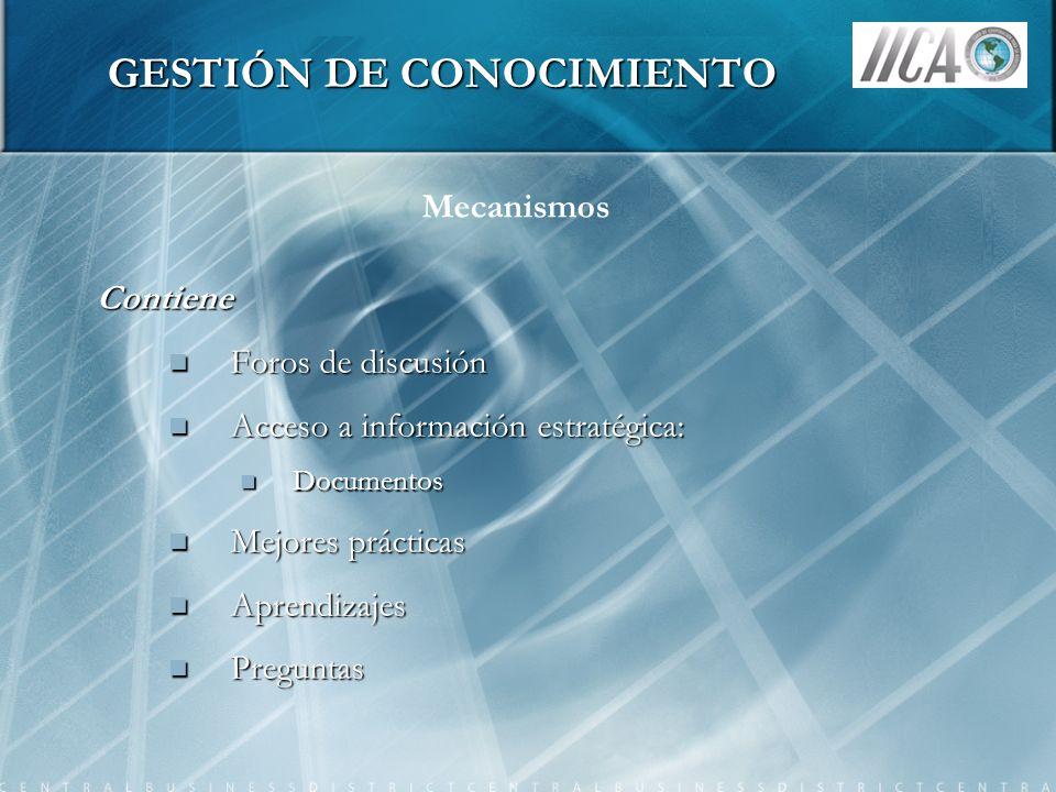 GESTIÓN DE CONOCIMIENTO Contiene Foros de discusión Foros de discusión Acceso a información estratégica: Acceso a información estratégica: Documentos