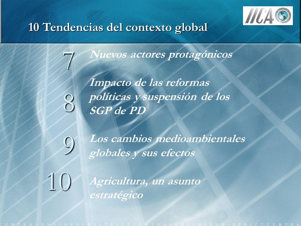 7 8 9 10 Nuevos actores protagónicos Impacto de las reformas políticas y suspensión de los SGP de PD Los cambios medioambientales globales y sus efect