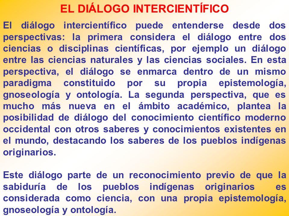 EL DIÁLOGO INTERCIENTÍFICO El diálogo intercientífico puede entenderse desde dos perspectivas: la primera considera el diálogo entre dos ciencias o disciplinas científicas, por ejemplo un diálogo entre las ciencias naturales y las ciencias sociales.