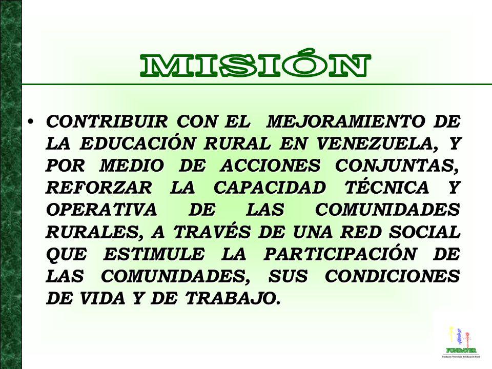 CONTRIBUIR CON EL MEJORAMIENTO DE LA EDUCACIÓN RURAL EN VENEZUELA, Y POR MEDIO DE ACCIONES CONJUNTAS, REFORZAR LA CAPACIDAD TÉCNICA Y OPERATIVA DE LAS COMUNIDADES RURALES, A TRAVÉS DE UNA RED SOCIAL QUE ESTIMULE LA PARTICIPACIÓN DE LAS COMUNIDADES, SUS CONDICIONES DE VIDA Y DE TRABAJO.