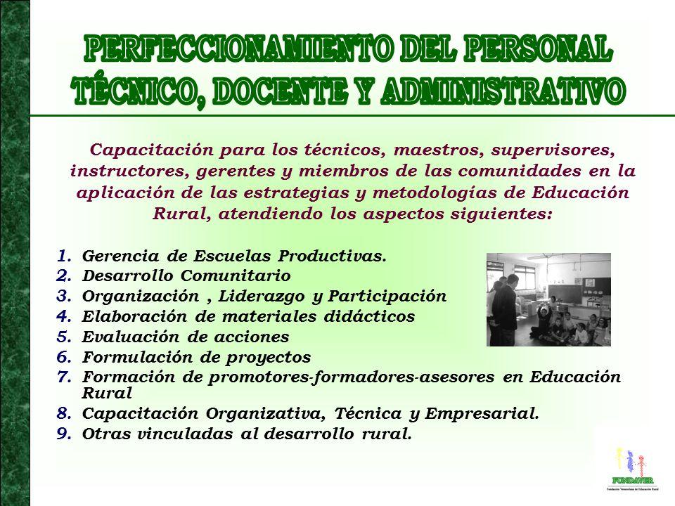 Apoyo, cooperación, asistencia, consultorías y asesoramiento para lo siguiente: 1.Análisis y diagnóstico del Sector Educativo Rural y determinación de áreas prioritarias de atención.