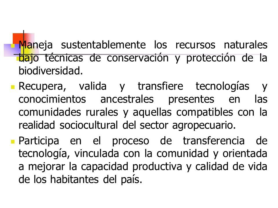 Maneja sustentablemente los recursos naturales bajo técnicas de conservación y protección de la biodiversidad. Recupera, valida y transfiere tecnologí