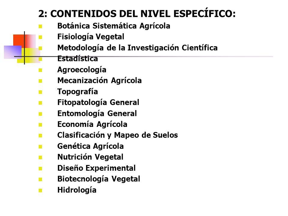 2: CONTENIDOS DEL NIVEL ESPECÍFICO: Botánica Sistemática Agrícola Fisiología Vegetal Metodología de la Investigación Científica Estadística Agroecolog