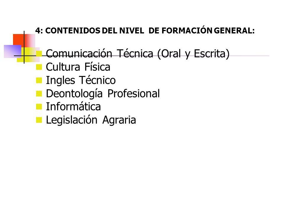 4: CONTENIDOS DEL NIVEL DE FORMACIÓN GENERAL: Comunicación Técnica (Oral y Escrita) Cultura Física Ingles Técnico Deontología Profesional Informática
