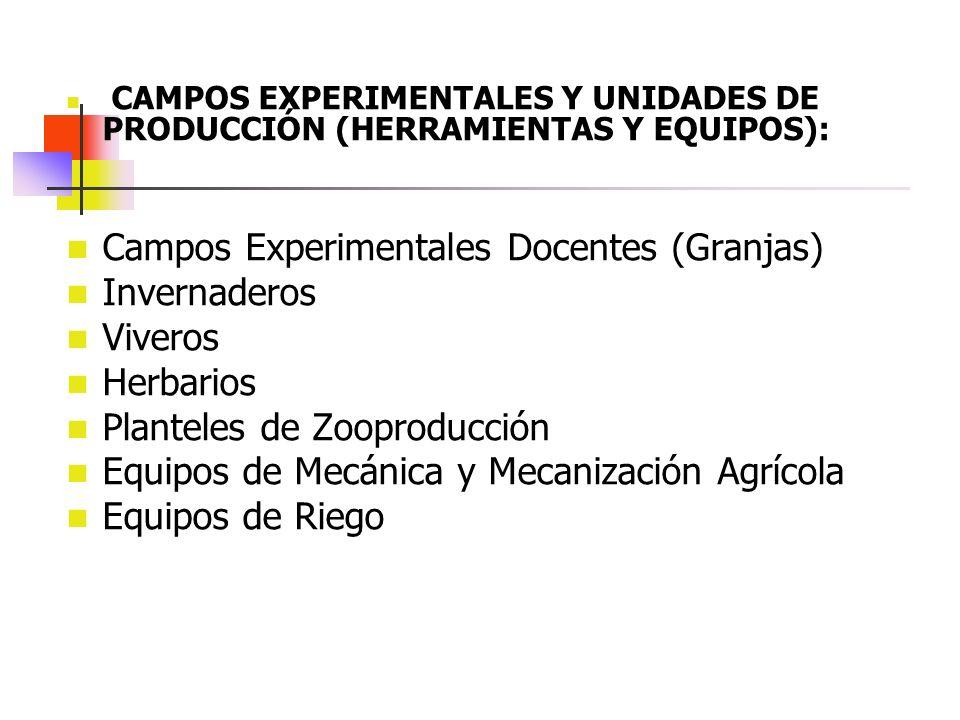CAMPOS EXPERIMENTALES Y UNIDADES DE PRODUCCIÓN (HERRAMIENTAS Y EQUIPOS): Campos Experimentales Docentes (Granjas) Invernaderos Viveros Herbarios Plant