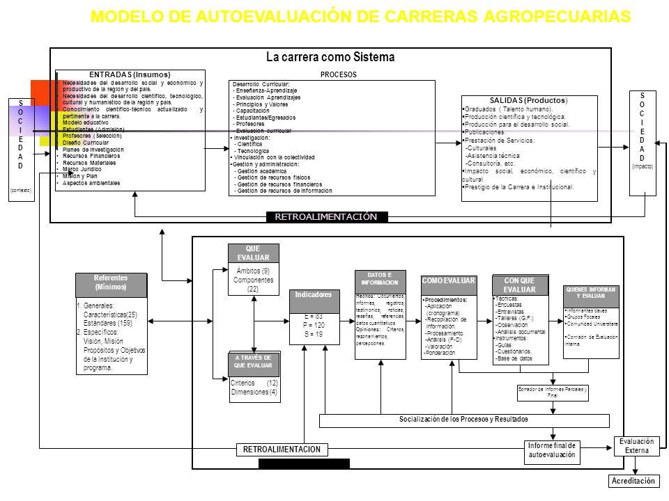 MODELO DE AUTOEVALUACIÓN DE CARRERAS AGROPECUARIAS La carrera como Sistema S O C I E D A D ( contexto) ENTRADAS (Insumos) Necesidades del desarrollo s