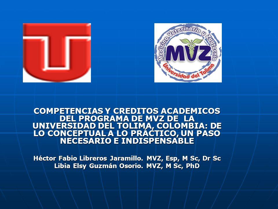 COMPETENCIAS Y CREDITOS ACADEMICOS DEL PROGRAMA DE MVZ DE LA UNIVERSIDAD DEL TOLIMA, COLOMBIA: DE LO CONCEPTUAL A LO PRÁCTICO, UN PASO NECESARIO E IND