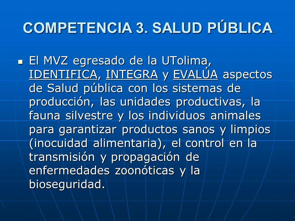 COMPETENCIA 3. SALUD PÚBLICA El MVZ egresado de la UTolima, IDENTIFICA, INTEGRA y EVALÚA aspectos de Salud pública con los sistemas de producción, las