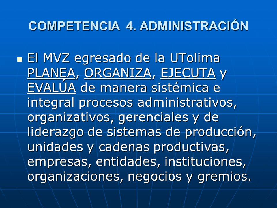 COMPETENCIA 4. ADMINISTRACIÓN El MVZ egresado de la UTolima PLANEA, ORGANIZA, EJECUTA y EVALÚA de manera sistémica e integral procesos administrativos